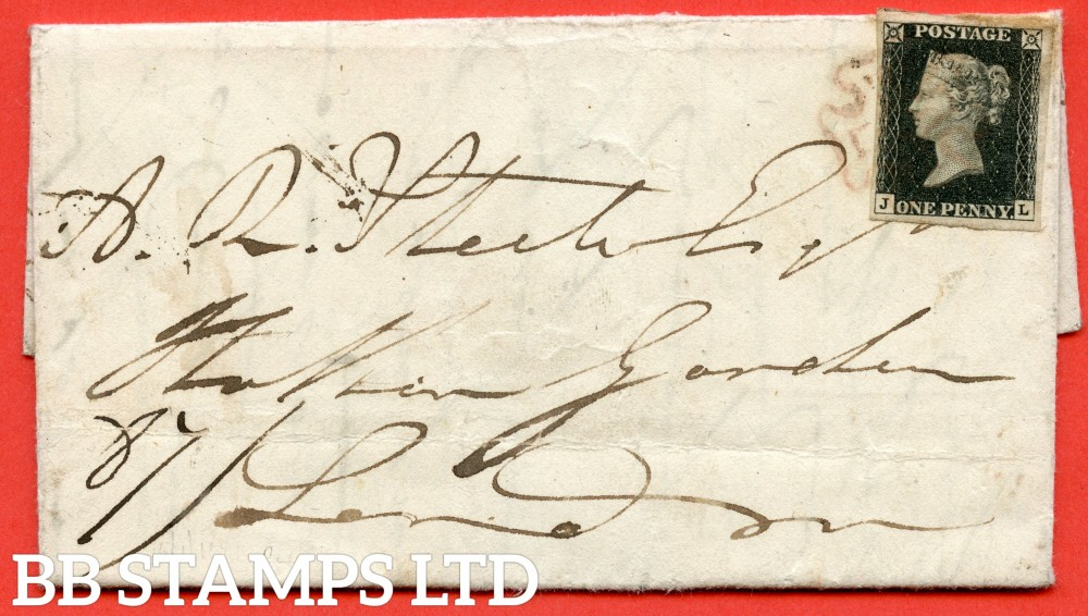 """SG. 2. A1 (2). AS23. """" JL """". 1d black. Plate 4. A fine used example on cover from SAWBRIDGEWORTH to LONDON dated 15th January 1841. With the """" Mark in left margin outside NW square """" variety."""