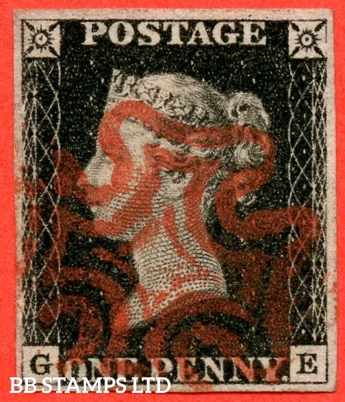 "SG. 2. A1 (2). AS23. "" GE "". 1d black. Plate 4. A very fine used example cancelled by a red maltese cross."