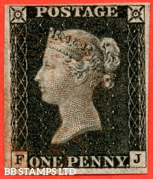 "SG. 2. A1 (2). AS23. "" FJ "". 1d black. Plate 4. A fine used example cancelled by a red maltese cross. With a "" Slight basal shift "" variety."