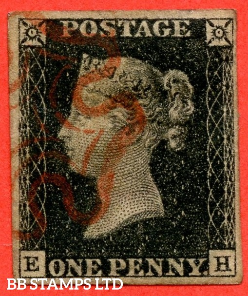 """SG. 2 c. A1 (2) h. AS23. """" EH """". 1d black. Plate 4. A fine used example cancelled by a red maltese cross with the listed """" Vertical guide line NE square """" variety."""