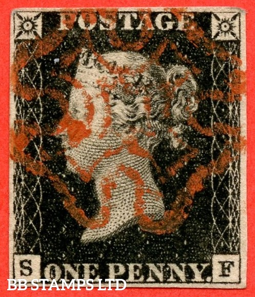 "SG. 2. A1 (2). AS23. "" SF "". 1d black. Plate 4. A fine used example cancelled by a red maltese cross."