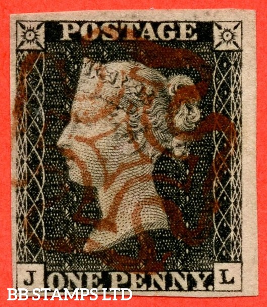"""SG. 2. A1 (2). AS23. """" JL """". 1d black. Plate 4. A fine used example cancelled by a red maltese cross. With the """" Small mark to left of NW square """" variety."""