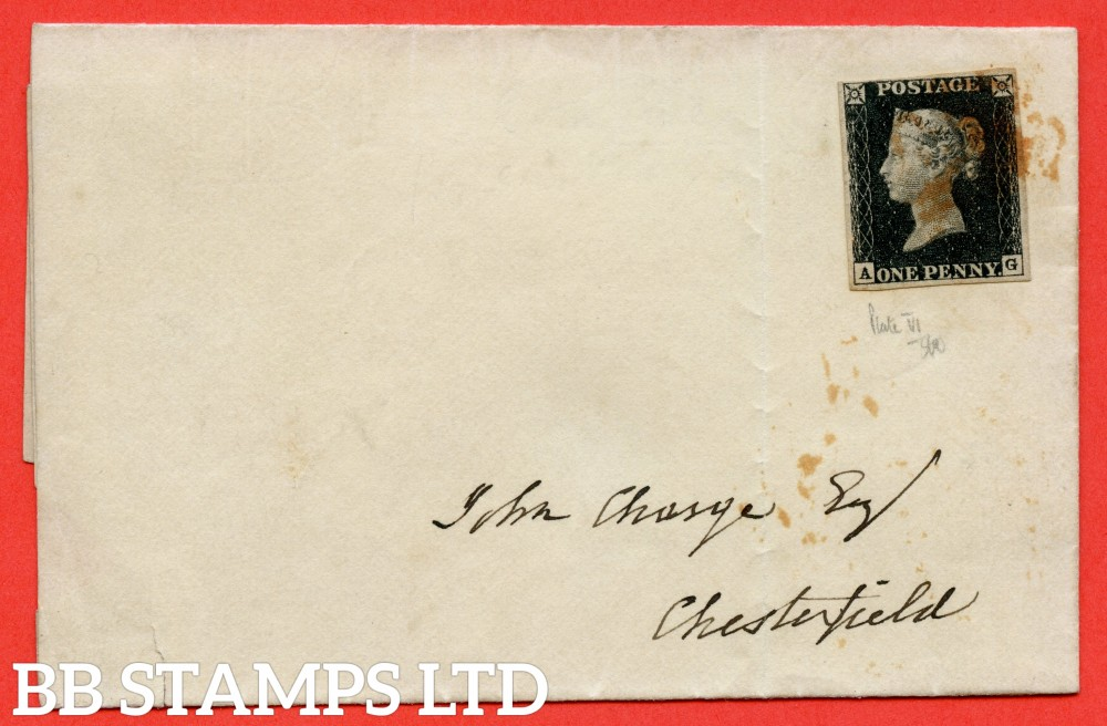 "SG. 2. A1 (2). AS23. "" AG "". 1d black. Plate 4. A good used example on cover to CHESTERFIELD dated 5th September 1840."