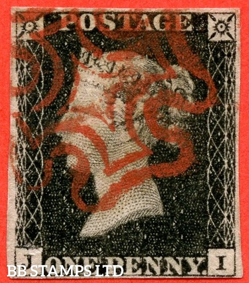 "SG. 2. A1 (2). AS23. "" JI "". 1d black. Plate 4. A fine used example cancelled by a red maltese cross."