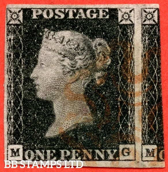 """SG. 2. A1 (2). AS23. """" MG """". 1d black. Plate 4. A fine used example cancelled by a red maltese cross."""