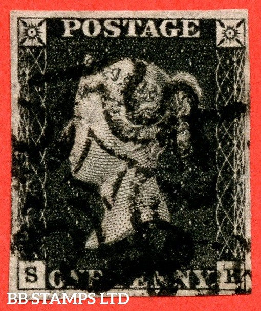 "SG. 1. A1 (1). AS22. "" SE "". 1d black. Plate 4. A fine used example cancelled by a black maltese cross. With the constant variety "" scratches in right margin ""."