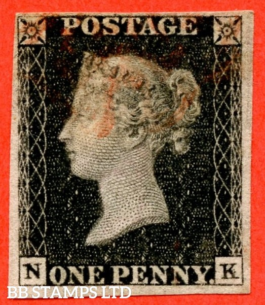"SG. 2. A1 (2). AS23. "" NK "". 1d black. Plate 4. A fine used example cancelled by a red maltese cross. With the "" Mark on ' P  of ' POSTAGE ' and marks to right of ' K ' "" varieties."