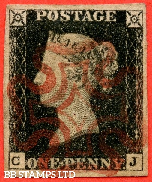 """SG. 2. A1 (2). AS23. """" CJ """". 1d black. Plate 4. A super used example cancelled by a red maltese cross. With the """" Left side extends below ( slight ) and dot in NE square """" varieties."""