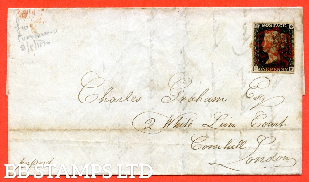 """SG. 2. """" IF """". 1d black. Plate 4. A fine used example on cover from Sunderland to London."""