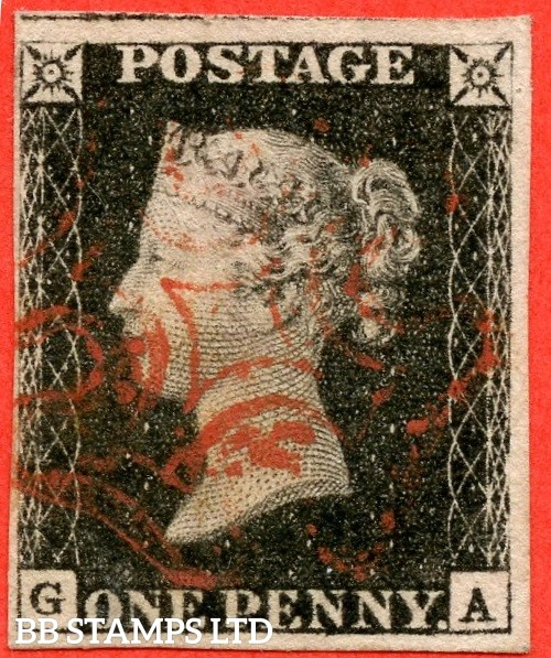 "SG. 2. A1 (2). AS23. "" GA "". 1d black. Plate 4. A fine used example cancelled by a single red maltese cross."