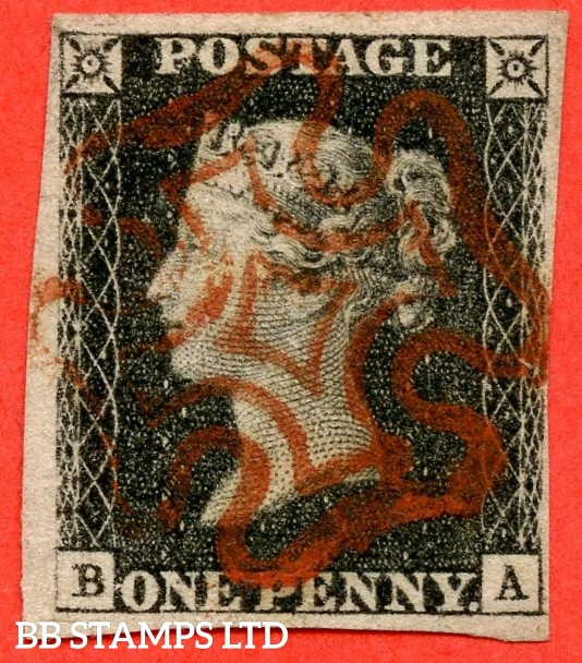 "SG. 2. A1 (2). AS23. "" BA "". 1d black. Plate 4. A fine used example cancelled by a red maltese cross. With the "" Bottom line extends right and dot to right of ' B ' in SW square "" varieties."
