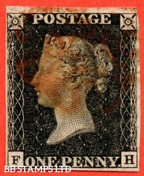 """SG. 2. A1 (2). AS23. """" FH """". 1d black. Plate 4. A good used example cancelled by a red maltese cross. With the """" Left side line extends below and slight basal shift """" varieties."""