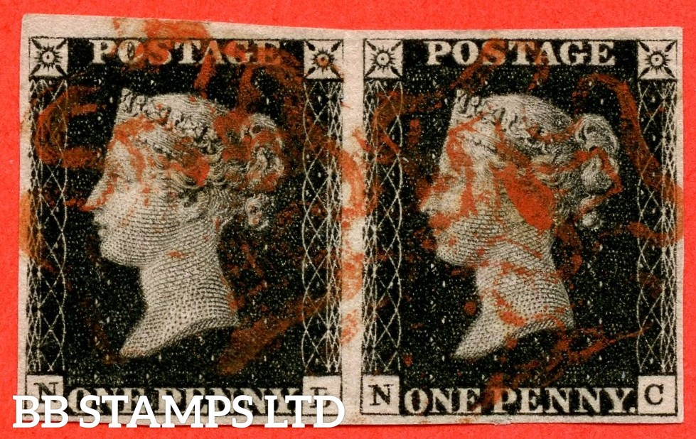 """SG. 2. A1 (2). AS25. """" NB NC """". 1d black. Plate 5. A fine used horizontal pair cancelled by a red maltese crosses. """" ' NB ' with the ' B ' defective and bottom line extends left """" variety."""