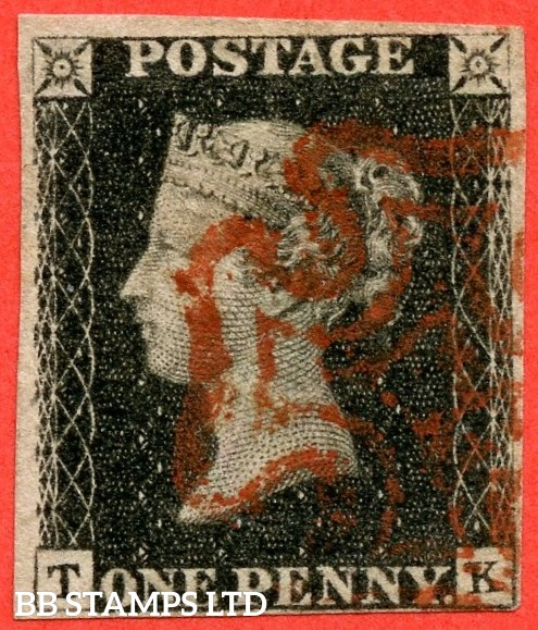 "SG. 2 d. A1 (2) i. AS25. "" TK "". 1d black. Plate 5. A good used example cancelled by a red maltese cross with the listed "" Horizontal guide line through value "" variety. Also "" Guide dot just to right of SE square ""."
