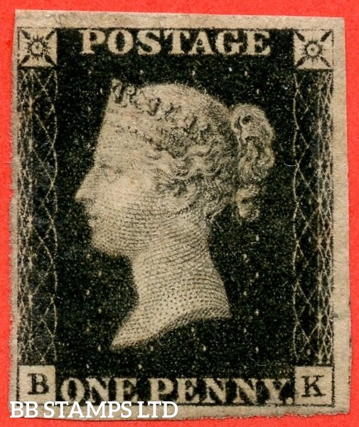 "SG. 2. A1 (2). AS25. "" BK "". 1d black. Plate 5. A decent mounted mint example."
