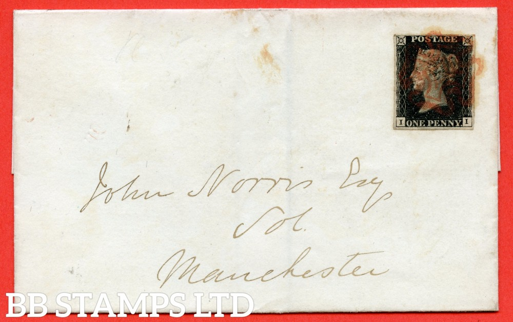 """SG. 2. A1 (2). AS25. """" II """". 1d black. Plate 5. A fine used example on cover from LONDON to MANCHESTER dated 4th February 1841."""