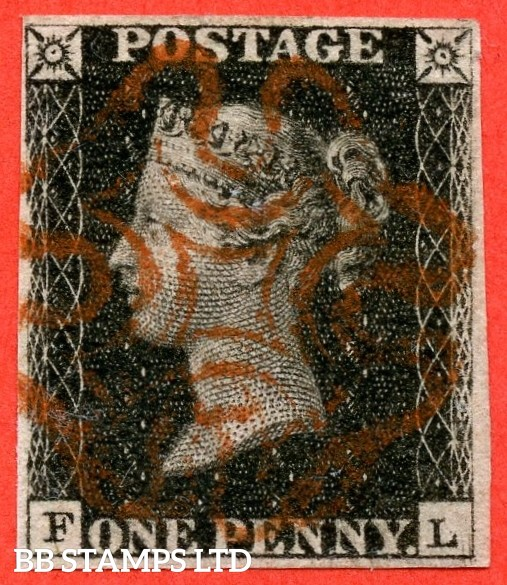 """SG. 2. A1 (2). AS25. """" FL """". 1d black. Plate 5. A fine used example cancelled by a red maltese cross. With the varieties """" Guide dot outside SE corner and scratches in SE square and bottom margin """"."""