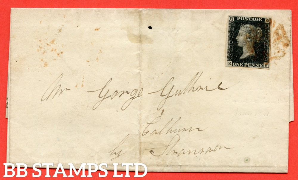 "SG. 2. A1 (2). AS25. "" KF "". 1d black. Plate 5. A fine used example on cover from GIRVAN to STRANRAER dated 18th January 1841."