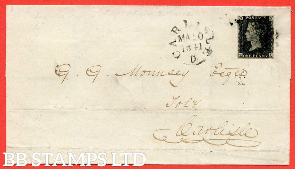 "SG. 2 d. A1 (2) i. AS25. "" RA "". 1d black. Plate 5. A fine used example on cover from BRAMPTON to CARLISLE dated 30th March 1841. With the listed "" Horizontal guide line through value "" variety."