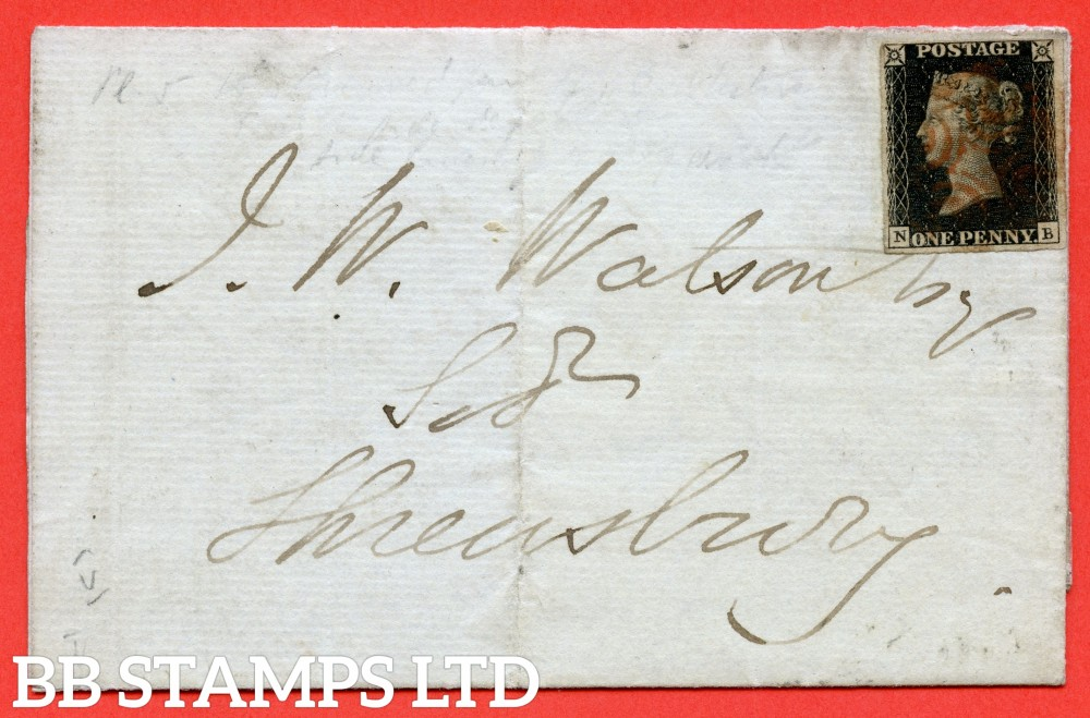 "SG. 2. A1 (2). AS25. "" NB "". 1d black. Plate 5. A fine used example on cover from LUDLOW to SHREWSBURY dated 30th December 1840. With the "" top of ' B ' faint and bottom line extends left "" varieties."