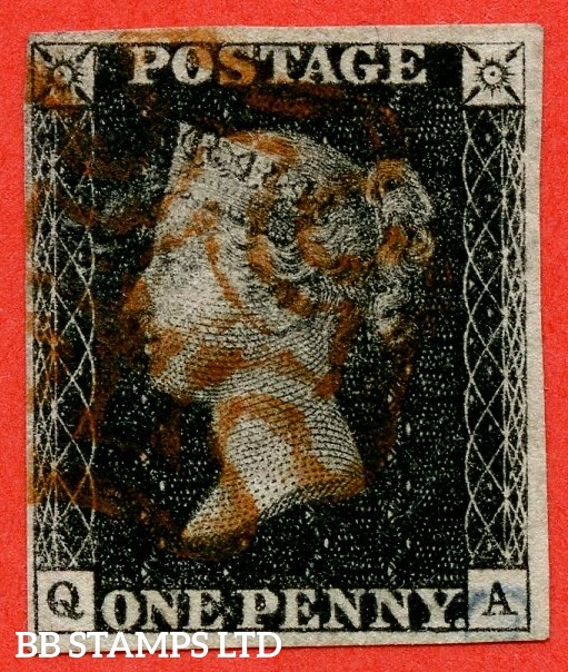 """SG. 2. A1 (2). AS25. """" QA """". 1d black. Plate 5. A fine used example cancelled by a red maltese cross. With the """" Small mark in upper margin above ' T ' of ' POSTAGE '."""