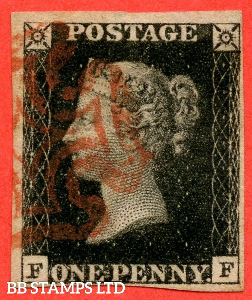 "SG. 2 c. A1 (2) h. AS25. "" FF "". 1d black. Plate 5. A fine used example by a red maltese cross. With the listed variety "" Vertical guide line NE square "". Also "" Bottom left serif of left ' F ' extends left "" variety."