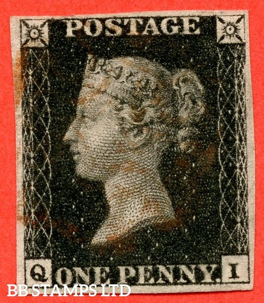 "SG. 2. A1 (2). AS25. "" QI "". 1d black. Plate 5. A fine used example cancelled by a red maltese cross."