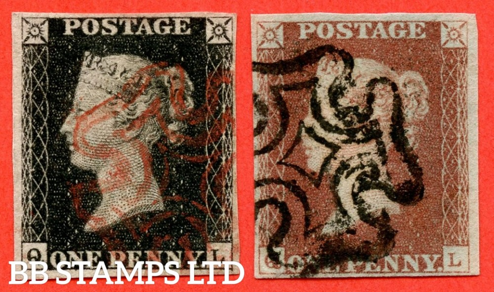 "SG. 2 & 7. A1 (2) & A2. AS25 & AS26. "" QL "". Plate 5. A very fine used matched pair with the variety "" Bottom line extends right ""."