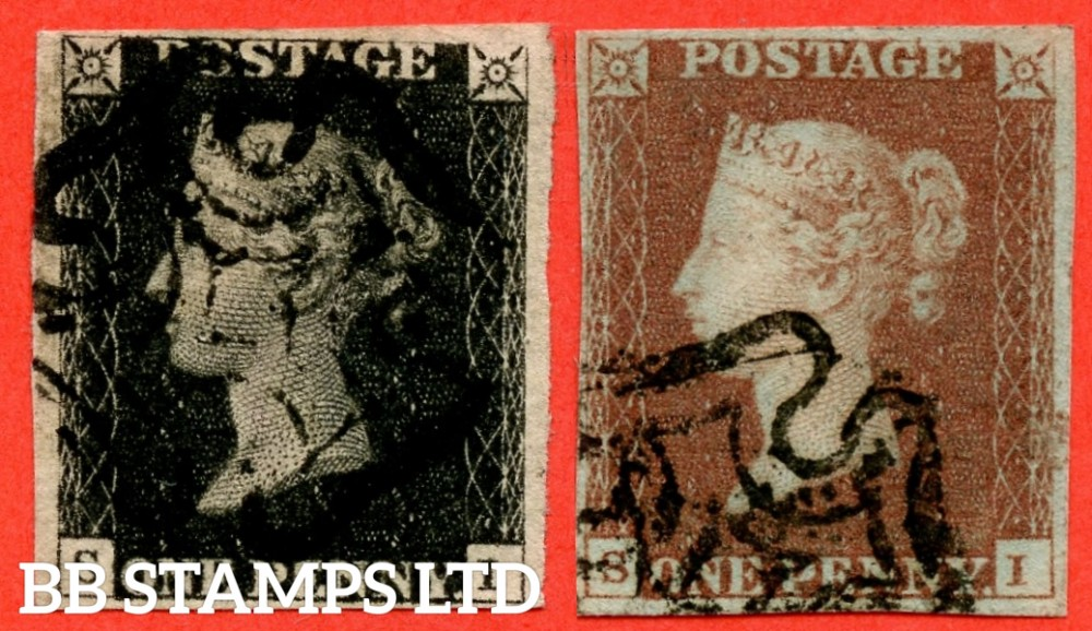 "SG. 2 & 7. A1 (2) & A2. AS25 & AS26. "" SI "". Plate 5. A good used matched pair with the variety "" Burr rub to top line over ' GE ' of ' POSTAGE ' "" ."