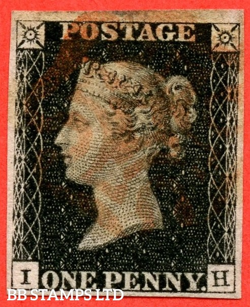 """SG. 2. A1 (2). AS25. """" IH """". 1d black. Plate 5. A fine used example cancelled by a red maltese."""