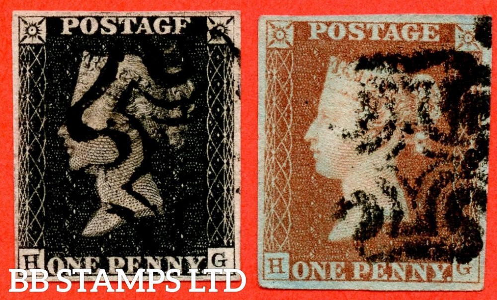 """SG. 2 c & 7. A1 (2) h and A2. AS25 & AS26. """" HG """". Plate 5. A fine used matched pair. The 1d black having the liisted variety """" Vertical guide line NE sq. """". And also varieties """" Scratches in lower margin and bottom line extends right """"."""