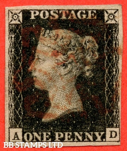 "SG. 2. A1 (2). AS41. "" AD "". 1d black. Plate 6. A fine used example cancelled by a red maltese cross. With the variety "" Guide dot below SE square just touching bottom line """