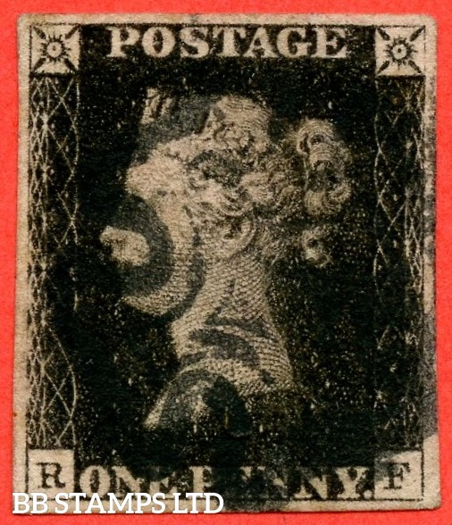 """SG. 1. A1 (1). AS40. """" RF """". 1d intense black. Plate 6. A good used example cancelled by a black maltese cross."""