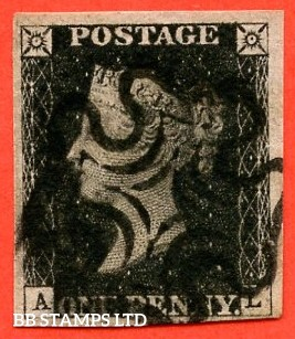 """SG. 1. A1 (1). AS40. """" AL """". 1d Intense Black. Plate 6. A very fine used example with good to huge margins. With the constant variety """" two tiny dots above ' A ' in south west square."""