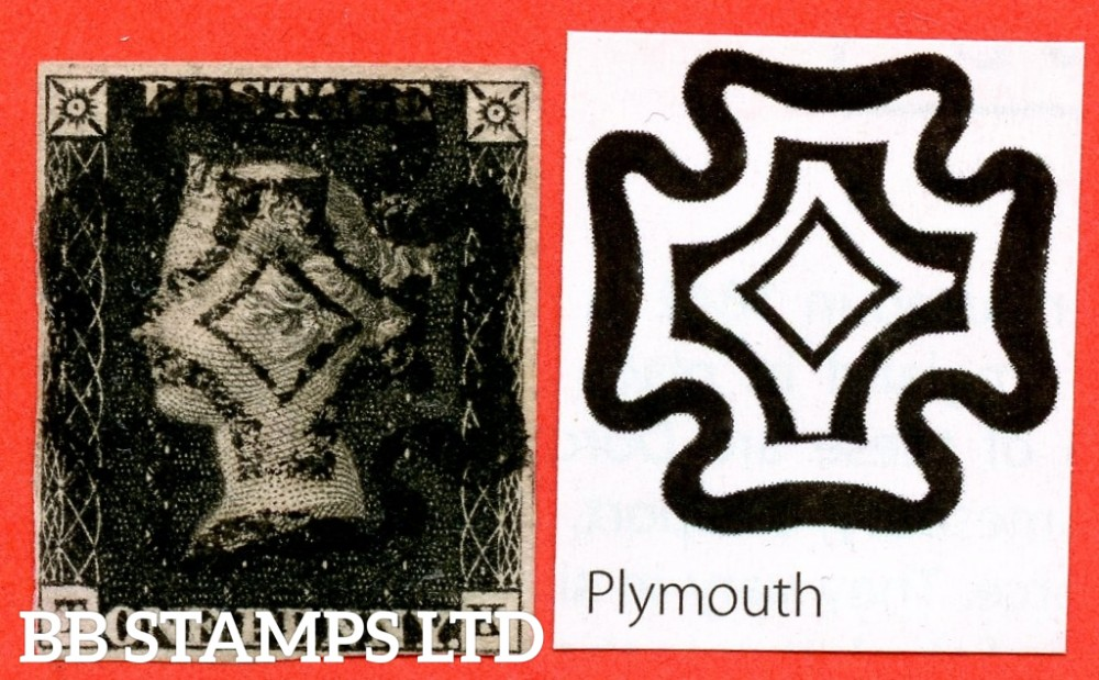 """SG. 2. A1 (2) uc. AS41. """" TK"""". 1d black. Plate 6. A used example cancelled by a full upright """" PLYMOUTH """" black maltese cross. With the """" Horizontal scratch in SW square """" variety. Complete with BPA certificate."""