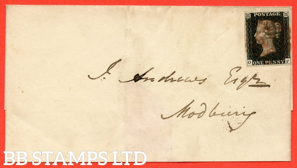 """SG. 2. A1 (2). AS41. """" OF """". 1d black. Plate 6. State 1. A fine used example on cover from KINGSBRIDGE to MODBURY dated 8th August 1840. With the """" Short vertical scratch high in right margin close to side line """" variety."""
