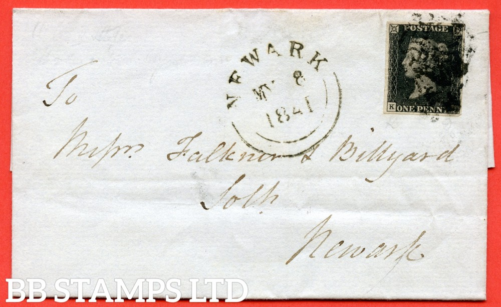 "SG. 2. A1 (2). AS42. "" KD "". 1d black. Plate 6. State 2. A used example on cover to NEWARK dated 8th May 1841. With the "" Base line and right side line stronger and scratch outside NW square "" varieties."