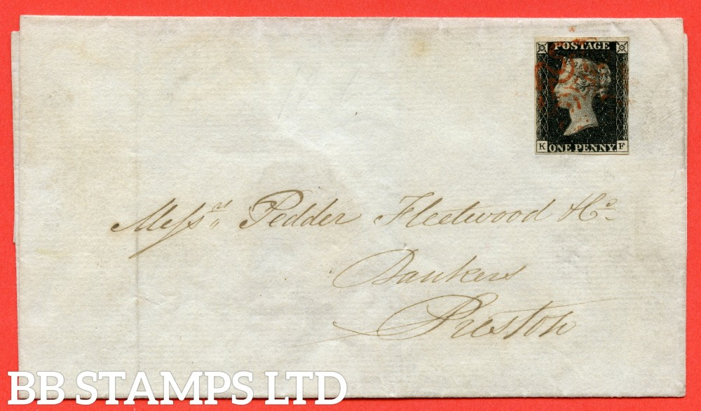 """SG. 2. A1 (2). AS41. """" KF """". 1d black. Plate 6. State 1. A used example on cover from  WIGAN to PRESTON dated 9th September 1840."""