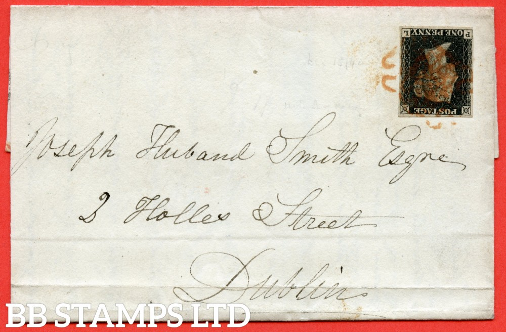 """SG. 2. A1 (2). AS41. """" PL """". 1d black. Plate 6. State 1. A fine used example on cover from BELFAST to DUBLIN dated 15th December 1840. With the """" Tiny dots in SW sq. and faint vertical scratches in and above NE sq. """" variety. '"""