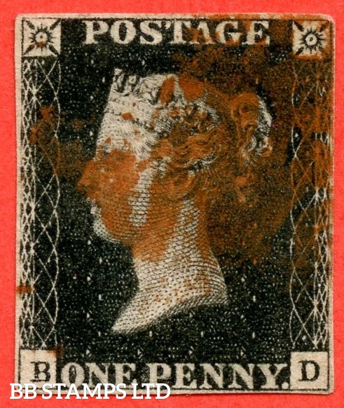 "SG. 1. A1 (1). AS40. "" BD "". 1d intense black. Plate 6. A good used example cancelled by a red maltese cross."