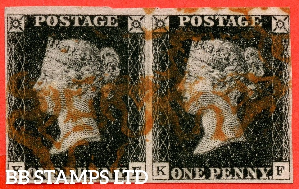 "SG. 2. A1 (2). AS41. "" KE KF "". 1d black. Plate 6. A fine used horizontal pair cancelled by red maltese crosses."