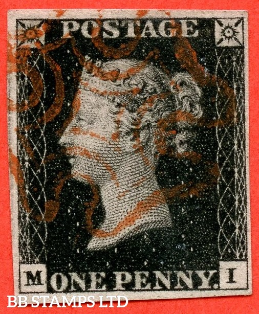 "SG. 2. A1 (2). AS41. "" MI "". 1d black. Plate 6. A very fine used example on piece cancelled by a red maltese cross. With the "" Dots in SE square and lower margin "" varieties."