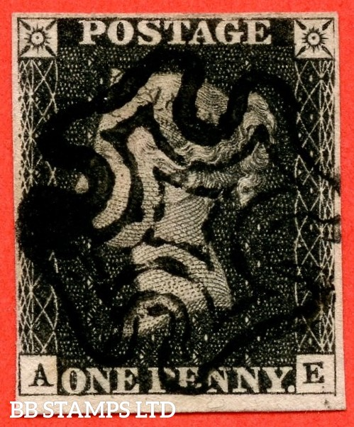 "SG. 2. A1 (2). AS41. "" AE "". 1d black. Plate 6. A fine used example cancelled by a black maltese cross. With the varieties "" Right side line extends below. Right side line of NE square weak and left side line weak ""."