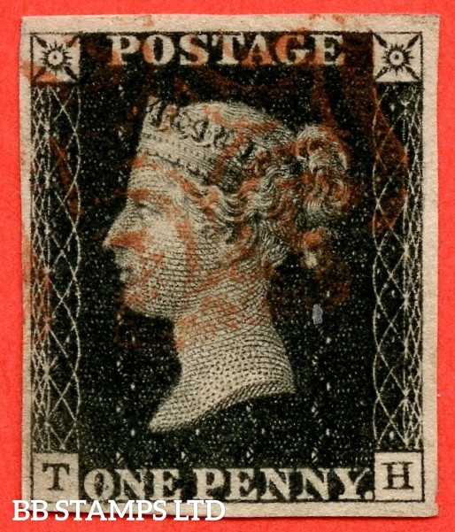 "SG. 2. A1 (2). AS41. "" TB "". 1d black. Plate 6. A fine used example cancelled by a single red maltese cross."