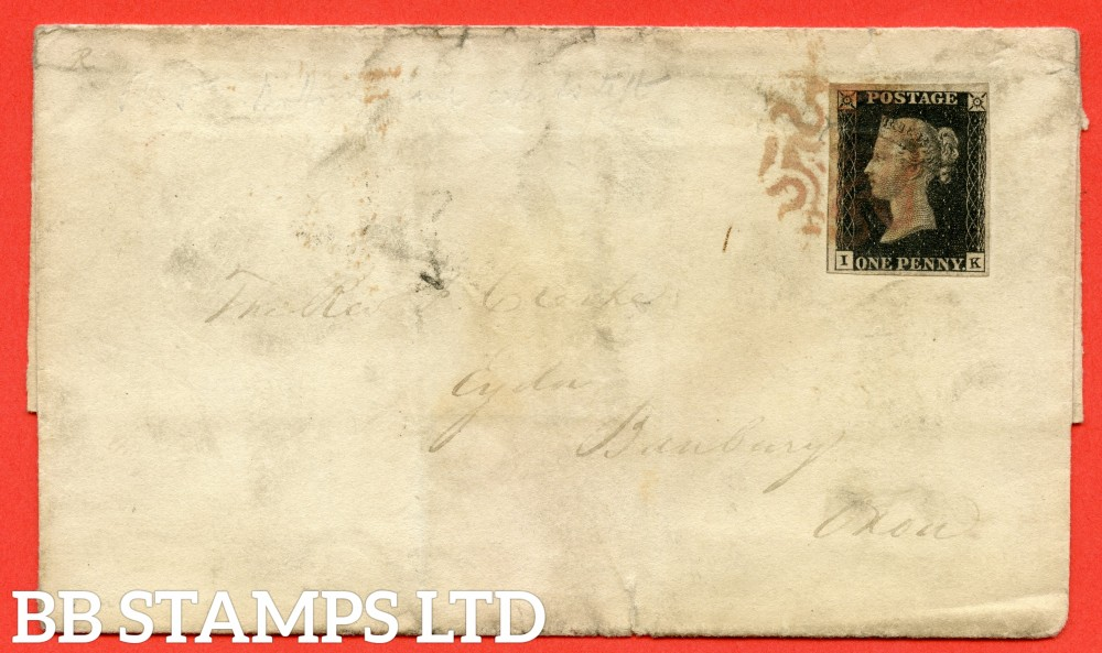 """SG. 2. A1 (2). AS41. """" IK """". 1d black. Plate 6. A good used example on cover LIVERPOOL to BANBURY dated 21st December 1840 with the """" Dot outside SW square and bottom line extends left variety """" variety."""