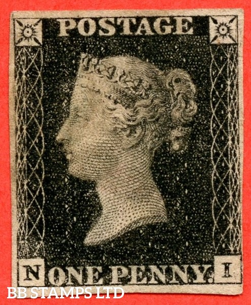 """SG. 2 c. A1 (2) h. AS41. """" NI """". 1d black. Plate 6. A good used example cancelled by a red maltese cross. With the listed variety """" Vertical guide line NE square """". Also constant variety """" Dots in SE square """"."""