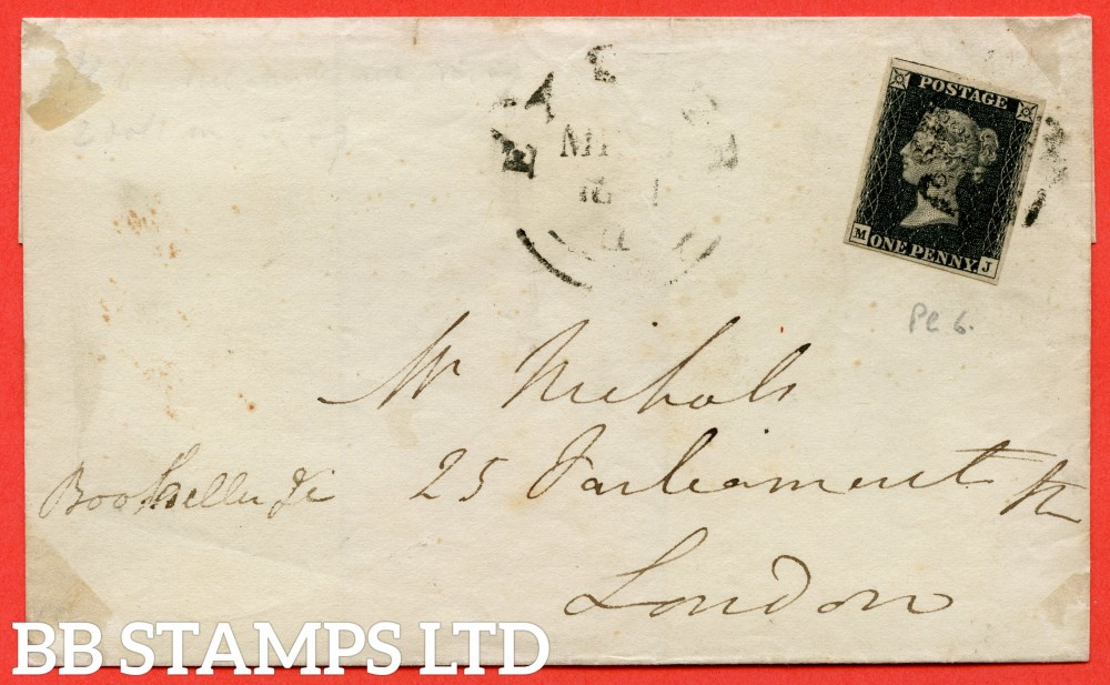 """SG. 2 c. A1 (2) h. AS41. """" MJ """". 1d black. Plate 6. A fine used example on cover from EXETER to LONDON arriving 11th March 1841. With the listed variety """" Vertical guide line NE sq. """" and """" Dots in SE square """" variety."""