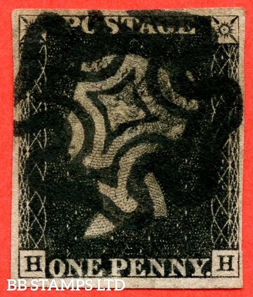 "SG. 1 c. A1 (1) h. AS40. "" HH "". 1d intense black. Plate 6. A good used example cancelled by black maltese cross. With the listed variety "" Vertical guide line NE square "". Also variety "" Tiny dot in SE corner of SE square ""."