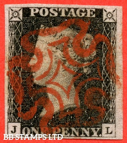 """SG. 2. A1 (2). AS41. """" JL """". 1d black. Plate 6. A very fine used example cancelled by a red maltese cross. With the """" Bottom line extends right. Dot on ' E ' of ' POSTAGE ' and mark on ' O ' of ' ONE ' """" varieties."""