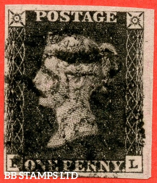 "SG. 2. A1 (2). AS41. "" FL "". 1d black. Plate 6. A fine used example cancelled by a black maltese cross. With the variety "" Mark in upper margin to left of ' P ' of ' POSTAGE ' ""."